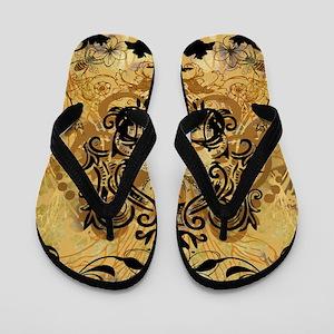 Golden Bee Garden Flip Flops