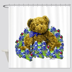 Bluebonnet Bear Shower Curtain