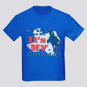 Kiss Me Cowboy Birthday Kids Dark T-Shirt
