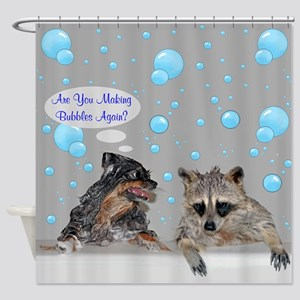 Raccoon And Pomeranian Shower Curtain