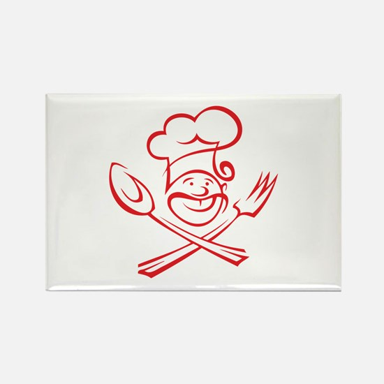 Chef With Moustache Rectangle Magnet (10 pack)