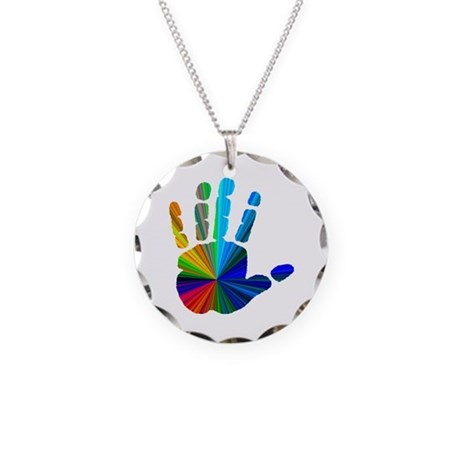 Hand Necklace Circle Charm