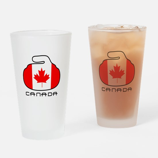 Canada Curling Drinking Glass