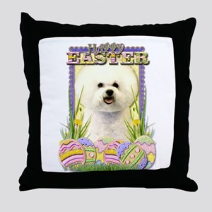 Easter Egg Cookies - Bichon Throw Pillow