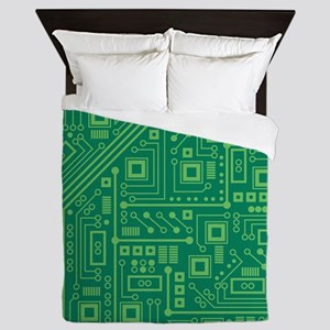 Green Circuit Board Queen Duvet