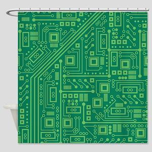 Green Circuit Board Shower Curtain