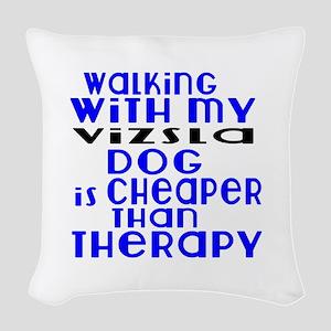 Walking With My Vizsla Dog Woven Throw Pillow