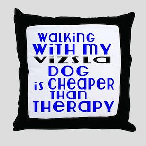 Walking With My Vizsla Dog Throw Pillow