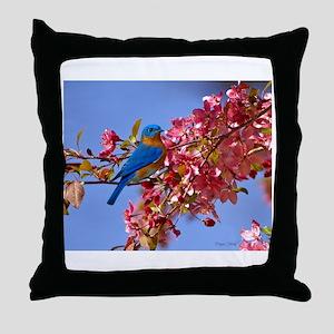 Bluebird in Blossoms Throw Pillow
