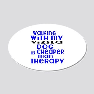 Walking With My Vizsla Dog 20x12 Oval Wall Decal