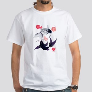 Yin and Yang Koi and Cherry B White T-Shirt