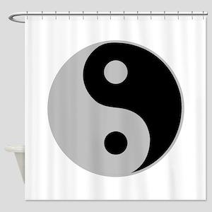 Silver Yin Yang Shower Curtain