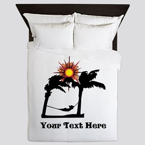 Palm Trees and Black Text. Queen Duvet