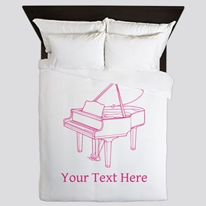 Pink Piano and Custom Text. Queen Duvet