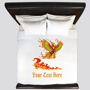 Phoenix and Custom Text. King Duvet