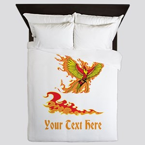 Phoenix and Custom Text. Queen Duvet