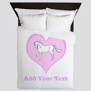 Horse and Pink Heart and Text Queen Duvet