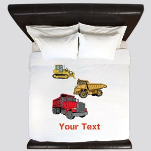 Works Site Vehicles and Text King Duvet
