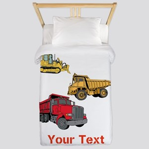 Works Site Vehicles and Text Twin Duvet