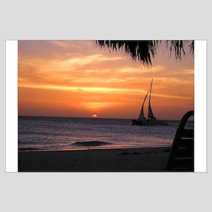 Aruba Sail at Sunset Large Poster