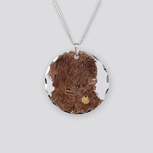 Chocolate Labradoodle Xena Necklace Circle Charm