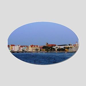 Curacao Skyline at Dusk 22x14 Oval Wall Peel