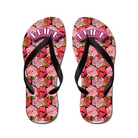 BRIDE with Hibiscus Background Flip Flops