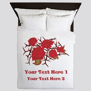 Red Roses and Red Text. Queen Duvet