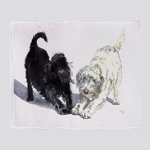 Stretching Labradoodles Throw Blanket