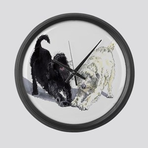 Stretching Labradoodles Large Wall Clock