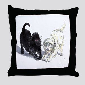 Stretching Labradoodles Throw Pillow