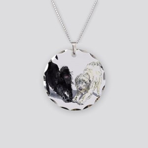 Stretching Labradoodles Necklace Circle Charm