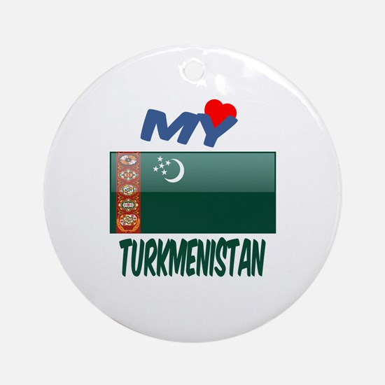 My Love Turkmenistan Round Ornament