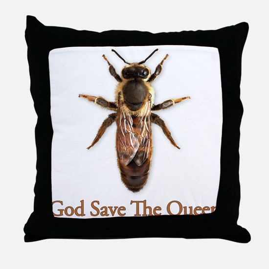 God Save the Queen (bee) Throw Pillow