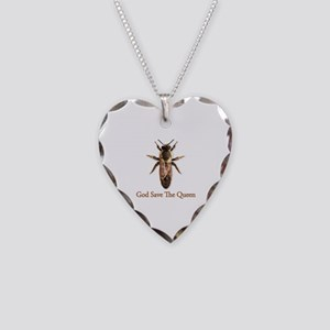 God Save the Queen (bee) Necklace Heart Charm