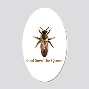 God Save the Queen (bee) 22x14 Oval Wall Peel