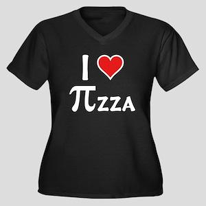 Pizza Women's Plus Size V-Neck Dark T-Shirt