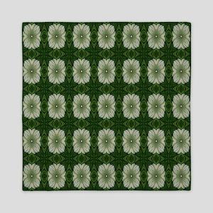 Green and Beige Print Queen Duvet
