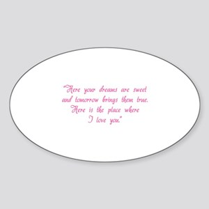 HG here your dreams are sweet .. Sticker (Oval)