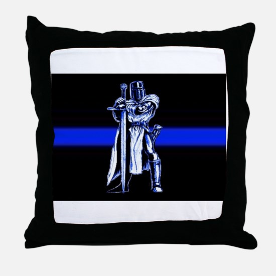 Freemason Templar Thin Blue L Throw Pillow