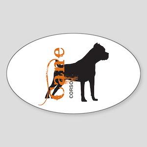Grunge Cane Corso Silhouette Sticker (Oval)