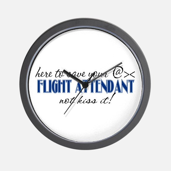 Flight Attendant Here to Save (blue) Wall Clock