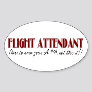 Flight Attendant here to(red) Oval Sticker