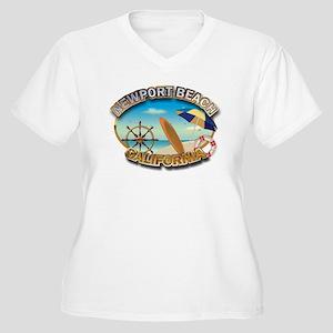 Newport Beach, CA Women's Plus Size V-Neck T-Shirt