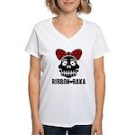 RIBBON-BAKA Women's V-Neck T-Shirt