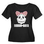 RIBBON-BAKA2 Women's Plus Size Scoop Neck Dark T-S