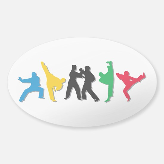 Tae Kwon Do Kicks Sticker (Oval)