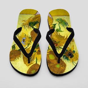 Van Gogh - 15 Sunflowers Flip Flops