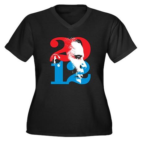 Obama 2012 Women's Plus Size V-Neck Dark T-Shirt