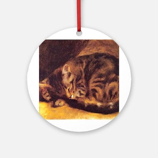 Renoir's Sleeping Cat Ornament (Round)